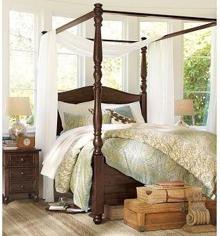 Cortona Canopy Bed Extra Wide Dresser Cal King Alfresco Brown Finish