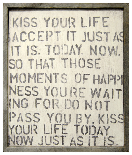 Kiss Your Life' Reclaimed Wood Vintage Wall Art transitional-prints-and-posters