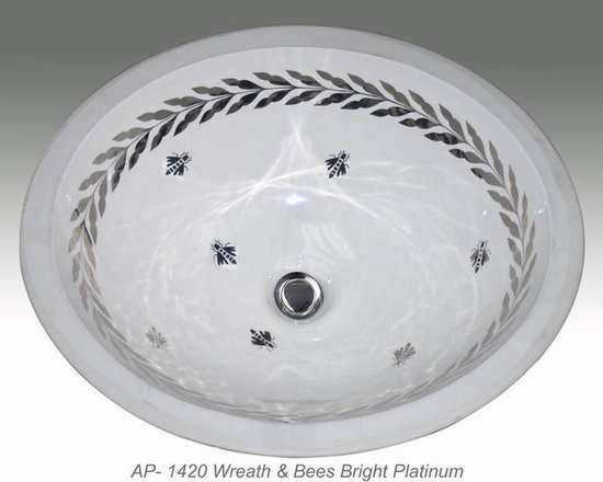 "Hand Painted Undermounts by Atlantis Porcelain - ""WREATH & BEES"" Shown on AP-1420 white Monaco Medium undermount 17-1/4""x14-1/4"".Available on burnished gold or platinum and bright gold or platinum on any of our sinks."