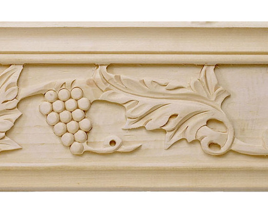 "Inviting Home - Sonoma Carved Crown Molding - cherry wood - cherry hardwood crown molding 4""H x 4""P x 5-5/8""F x 8'00""L sold in 8 foot length 3 piece minimum order required Hand Carved Wood Molding specification: Outstanding quality molding profile milled from high grade kiln dried American hardwood available in bass hard maple red oak and cherry. High relief ornamental design is hand carved into the molding. Wood molding is sold unfinished and can be easily stained painted or glazed. The installation of the wood molding should be treated the same manner as you would treat any wood molding: all molding should be kept in a clean and dry environment away from excessive moisture. acclimate wooden moldings for 5-7 days. when installing wood moldings it is recommended to nail molding securely to studs; pre-drill when necessary and glue all mitered corners for maximum support."