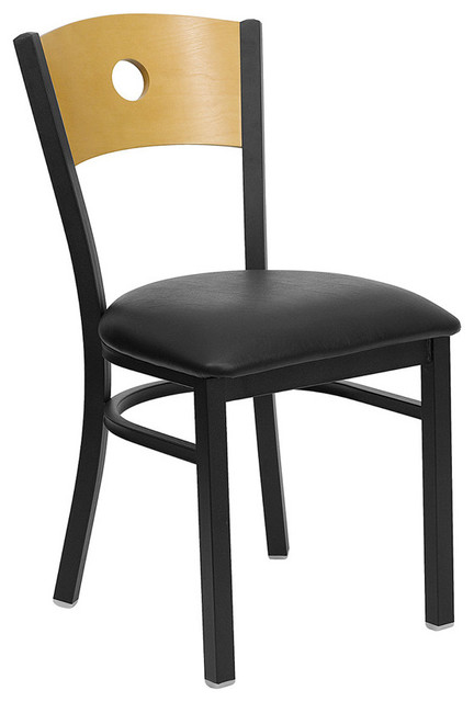 Hercules Series Black Circle Back Metal Restaurant Chair with Natural Wood Back contemporary-living-room-chairs