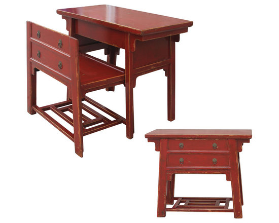 Four Hands - Chinese Desk With Hidden Stool-Red - Like a look inside the Forbidden City, this piece has a secret. It's an antique-inspired, distressed, red lacquer chest on the outside. But coax the front off and it becomes a stool and table at the ready to pay bills, put on your makeup or check email.