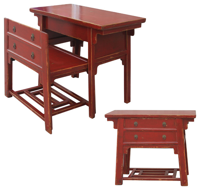Chinese Desk With Hidden Stool, Red asian-desks-and-hutches