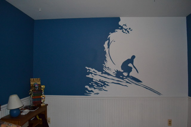 Surfer mural in teenage boys room for Boys room mural