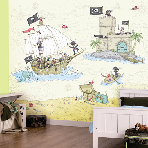 Pirate Coast Wall Art Mural eclectic-kids-decor