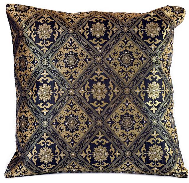 hand embroidered brocade pillow cover set of 2 black and. Black Bedroom Furniture Sets. Home Design Ideas