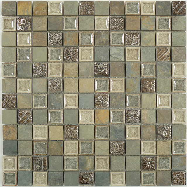 Grey tumbled glass and stone modern wall and floor for Tumbled glass tile