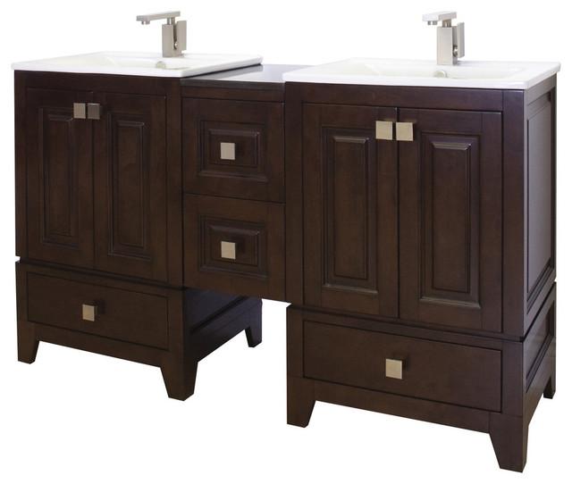 58 In W X 18 In D Transitional Birch Wood Veneer Vanity Set Transitional Bathroom Vanities And