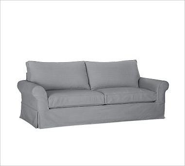 PB Comfort Slipcovered Grand Sofa, Down-Blend Wrap Cushions, Twill Metal Gray traditional-sofas