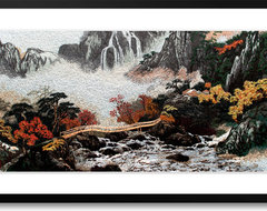 Tall Mountains, Long Rivers - Hand Designed Silk Art, Silk Embroidery asian artwork