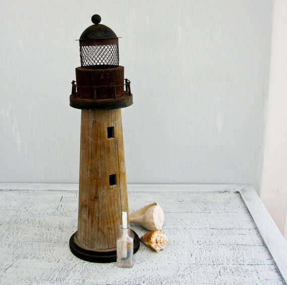 Vintage Rusty Metal and Weathered Wood Lighthouse by BeeJayKay traditional candles and candle holders