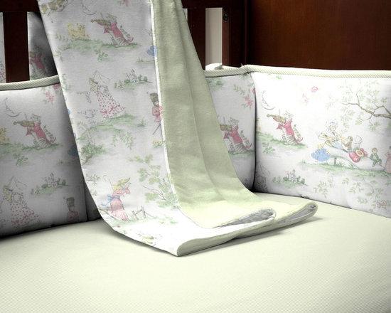 Nursery Rhyme Toile Sage Crib Blanket -