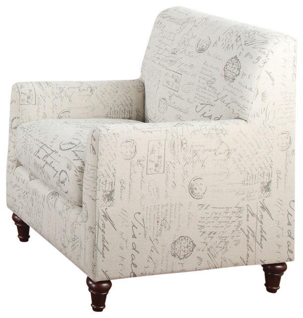 Oatmeal Linen Fabric Norah Accent Arm Chair with French