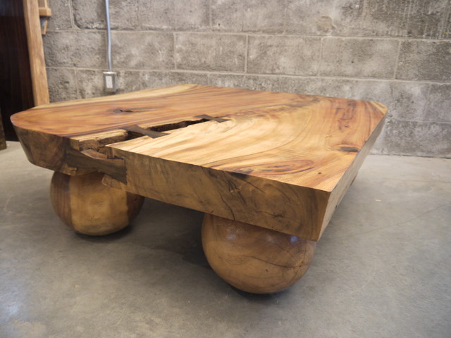 Live edge suar coffee table traditional coffee tables montreal by boi - Table bois design contemporain ...