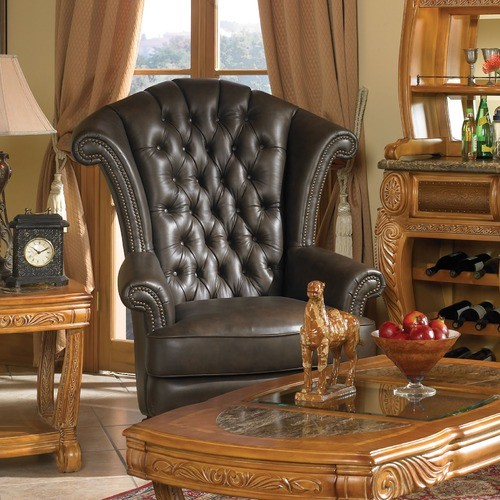 Trevi Leather High Back Chair in Brown traditional-armchairs