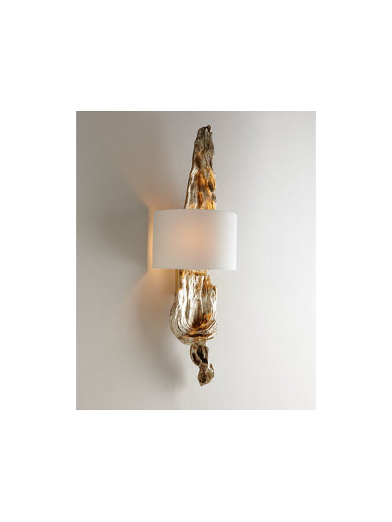 """Regina-Andrew Design - Regina-Andrew Design Silvery Driftwood Sconce - The perfect mix of natural and glamorous, this """"driftwood"""" wall sconce works well in any setting from chic coastal to contemporary. Made of resin with a patinated-silver finish. Linen half shade with styrene backing. Uses two 100 watt bulbs. Direct...."""