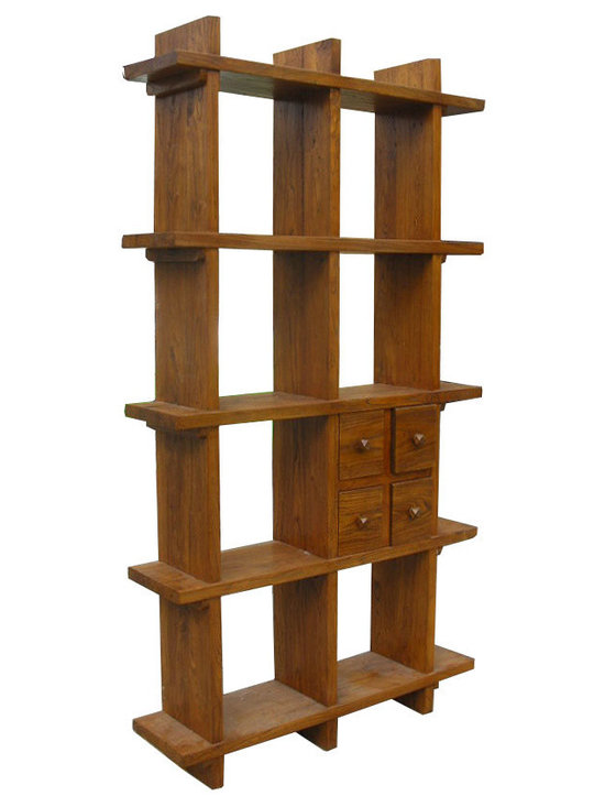 Tall Thick Elm Wood Multiple Shelves Display Cabinet - Look at this display cabinet which is made of solid thick elm wood. It provides multiple shelves. You can use it to decorate your living room and display all of your small items, such as statues, and vases.