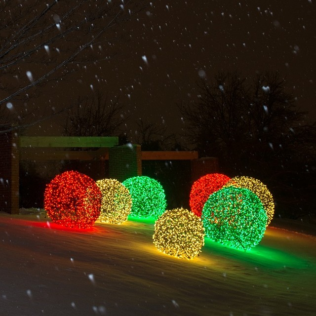 led light balls illuminate outdoor spaces transitional - Outdoor Christmas Balls