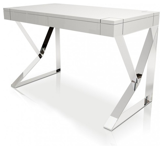 houston white lacquer desk modern desks and hutches by modern