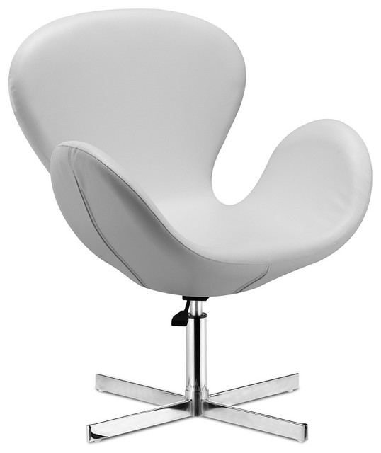 Cobble Swan Swivel Chair- White Leather - Modern - Armchairs And Accent Chairs - new york - by ...