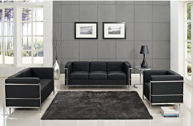 Leather Le Corbusier-Style LC2 Armchair, Loveseat, and Sofa in Black, Eileen Gra modern-love-seats