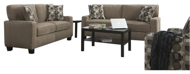 Serta 2 Piece Santa Cruz Sofa Set In Platinum Fabric Transitional Living Room Furniture Sets