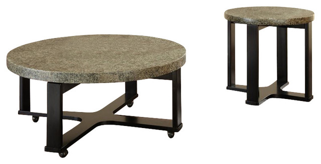 Steve Silver Company Gabriel 3 Piece Green Granite Top Cocktail Table Set Transitional