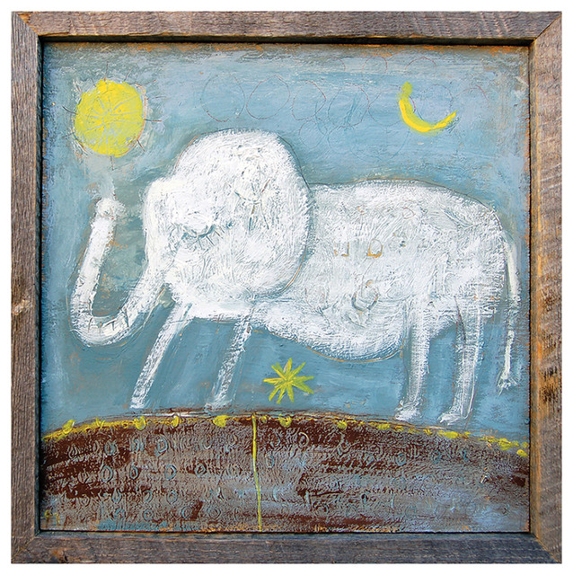 Baby Elephant Hand Drawn Gray Blue Reclaimed Wood Wall Art - Large transitional-prints-and-posters
