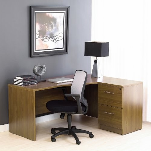 The Ergo Office Right Crescent Desk and Filing Cabinet - Walnut traditional-desks