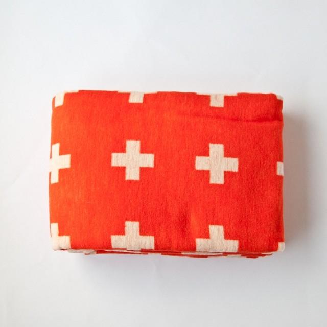 Cross Blanket, Orange modern-blankets