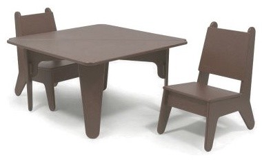 notNeutral BBO2 Table and Chair Set - Brown modern-accent-chairs