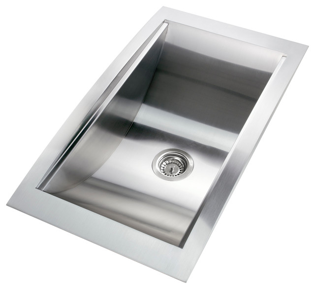Top Mount Stainless Steel Farmhouse Sink : GV 34-Inch Stainless Steel Handmade Kitchen Sink Top Mount W/Rinsing ...
