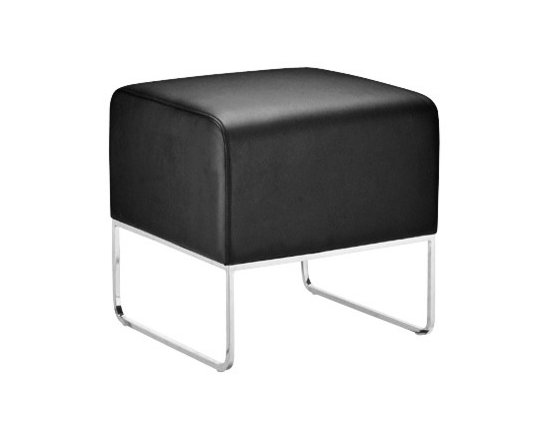 """Zuo - Plush Black Leatherette Ottoman - The Plush ottoman offers sleek simple design. This functional piece will also add a splash of style in any application. The cushion features black leatherette covering. The frame is solid steel with a brilliant chrome finish. 18 1/2"""" wide. 18 1/2"""" high. 18"""" deep.  Black leatherette.   Solid steel construction.   Chrome finish.   18 1/2"""" wide.   18 1/2"""" high.   18"""" deep."""