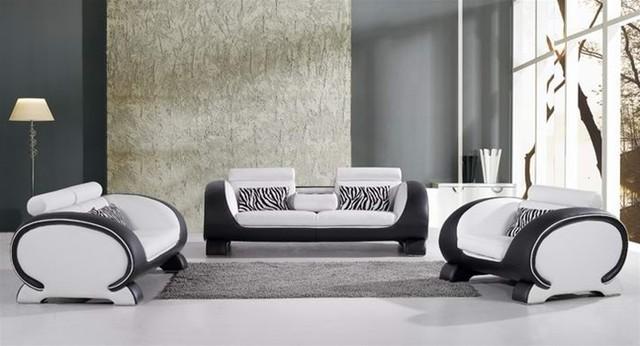 Black And White Sofa Set Contemporary Living Room Furniture Sets