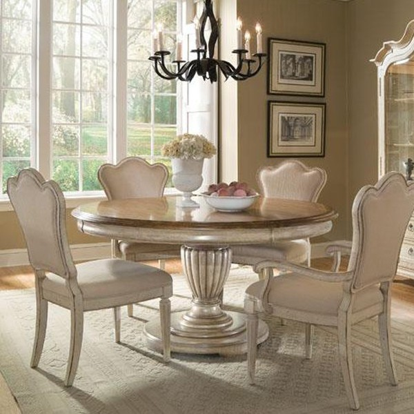 furniture provenance 5 piece round dining set in distressed brown