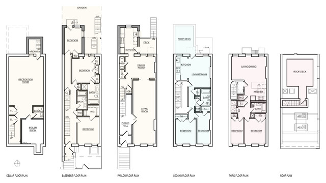 Park slope brownstone traditional floor plan new for Brownstone plans