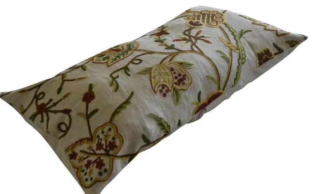 Crewel Pillow Sham Lotus Natural Brown Club Linen King Sham - Traditional - Decorative Pillows ...