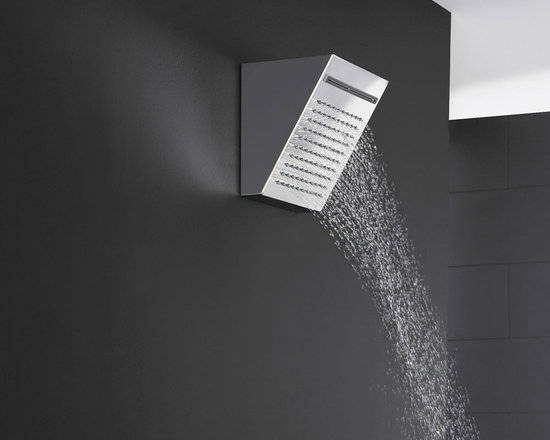 Hudson Reed - Hudson Reed Fixed Shower Head with Waterfall - The Hudson Reed fixed shower head features a striking, contemporary design that will add the wow-factor to your bathroom. Featuring a chrome finish, this high quality shower head incorporates a waterfall function for a refreshing deluge. This eye-catching shower head will transform your daily showering routine into pure luxury.  For use with a concealed valve with two outlets (sold separately) for switching between rain and flood jet massage.