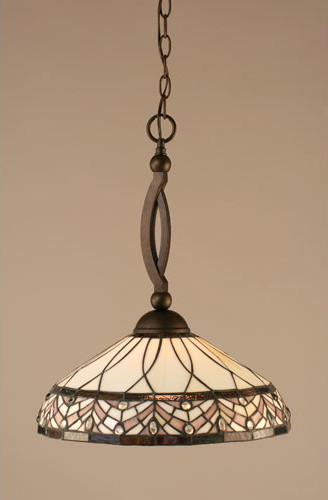 Bow Bronze Pendant with Royal Merlot Tiffany Glass eclectic-ceiling-lighting