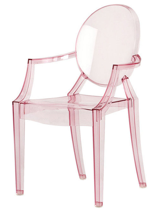 Kartell Louis Ghost Chair by Philippe Starck - Kartell Louis Ghost Chair  by Philippe Starck.  Few chairs have more appeal than the brilliant Louis Starck-designed Ghost Chairs. The Louis Ghost chair was designed by Philippe Starck for Kartell in Italy. This ultra-modern transparent modern arm chair is a true modern design classic and perhaps one of the most daring chairs ever created. In his groundbreaking collection of Ghost furniture for Kartell, Philippe Starck transformed a regular dining chair into a fluid, sculptural form. The Kartell Louis Ghost Chair is one of the most significant design pieces of the last decade.  Available from: http://www.stardust.com/SEARCH.html?q=kartell+louis+ghost