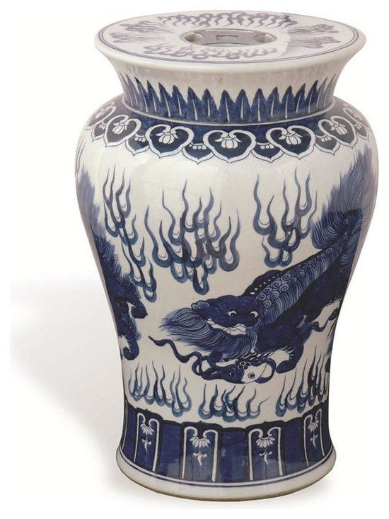 Chow Blue Garden Stool - This asian garden stool comes in an elegant curved shape adorned with an intricate blue dragon design. Use as an accent table, an ottoman or for additional seating!