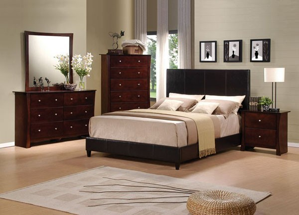 Acme furniture rideg espresso pu leather 5 piece king King bed sets