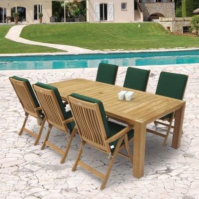 Royal Teak 96 in. Comfort Estate Patio Dining Set - Seats 6 modern-patio-furniture-and-outdoor-furniture