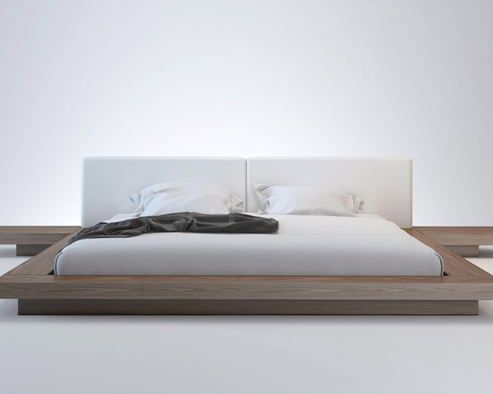 Worth Contemporary & Modern Bed by ModLoft - The Japanese-inspired Worth platform bed features a low profile hardwood frame with matching symmetrical nightstands. An upholstered leather headboard compliments this lavish feng shui bed. Mattress sits snuggly on a pine-slat mattress support system. Includes two matching nightstands each measuring 24L x 18W x 7H. Platform height measures 7 inches (2 inch inset). Available in California-King, Standard King, Queen, and Full sizes. Color combinations include Wenge/White, Wenge/Dusty Grey, and Walnut/White bonded leathers. Assembly required. Mattress not included. Imported.