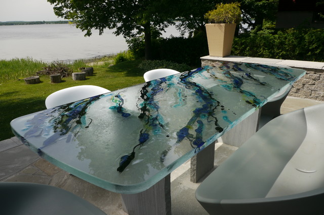 Outside Artistic Glass Table Top modern-table-tops-and-bases