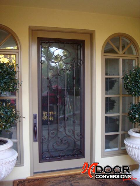 Wrought iron door insert cassela design hinged glass w for Exterior doors with screen insert