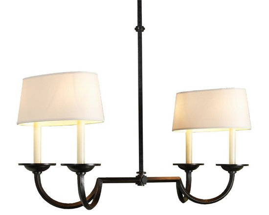 Medium Hook and Line Chandelier With Oval Shades, Aged Iron -