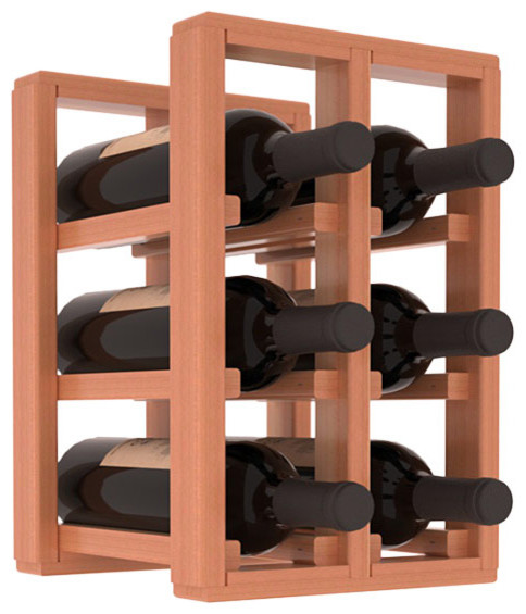 6 Bottle Counter Top/Pantry Wine Rack in Redwood, Satin Finish contemporary-wine-racks