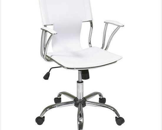 Ave Six Dorado Office Chair in White - This sleek white task chair is perfect for the home office. It has a contoured seat with built-in lumbar support. Pneumatic seat height adjustment and adjustable tilt create a comfortable spot to sit and get some work done. Carpet casters allow mobility.