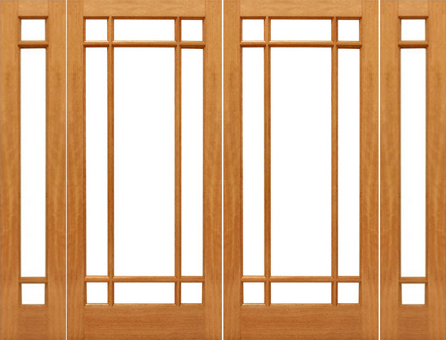 Prehung 9 marginal french brazilian mahogany ig glass for French doors with sidelights